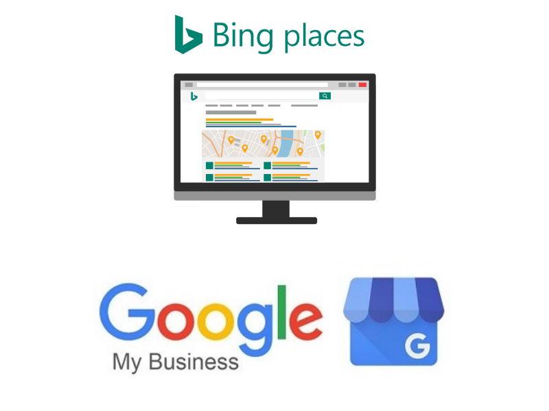 Was ist Local SEO? Logos von Google My Business und Bing Places